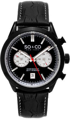 Co SO & NY Mens Monticello Alligator Embossed Genuine Leather Strap With White Contrast Stitching Sport Quartz Watch J154P77