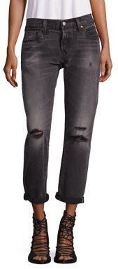 Levi's 501 Distressed Cuffed Boyfriend Jeans $168 thestylecure.com