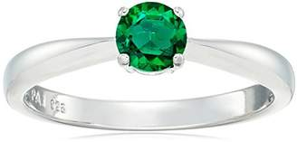 Sterling Silver Created Emerald 5mm Birthstone Solitaire Ring