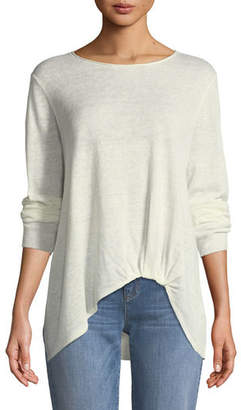 Eileen Fisher Jewel-Neck Front-Twist Organic Linen Sweater