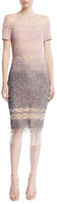 Pamella Roland Confetti-Sequins Short-Sleeve A-Line Cocktail Dress