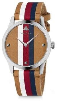 Gucci G-Timeless Stripe Wide Leather Strap Watch