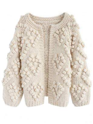 Goodnight Macaroon 'Blythe' Pom Pom Knitted Open Cardigan (2 Colors)