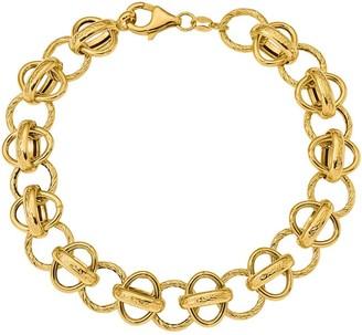 "14K Oval and Textured Circle Fancy Link 7-1/2""Bracelet, 7.9g"