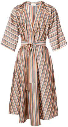 Tome candy stripe tie waist dress