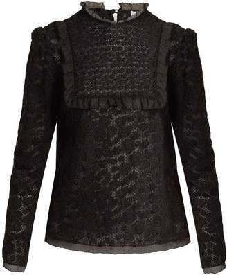 RED Valentino Floral macramé-lace cotton blouse