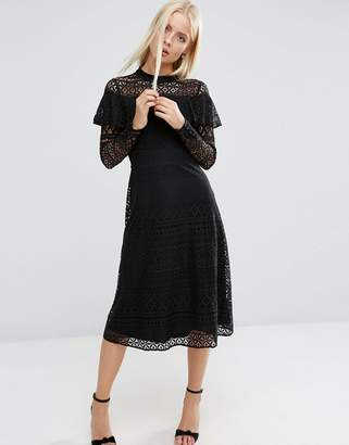 ASOS High Neck Ruffle Lace Midi Dress $91 thestylecure.com