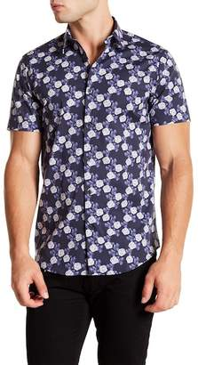 CALIBRATE Short Sleeve Blue Floral Print Slim Fit Shirt