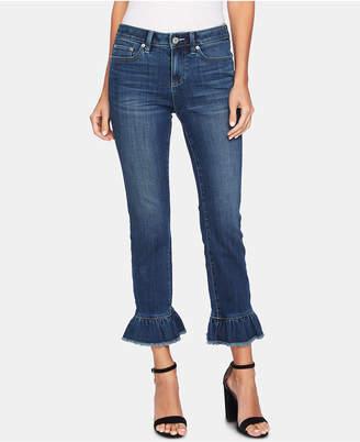 CeCe Ruffle-Cuffed Slim Ankle Jeans