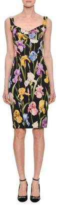 Dolce & Gabbana Sweetheart-Neck Sleeveless Iris-Print Sheath Cocktail Dress