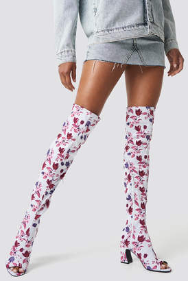 Na Kd Shoes Open Toe Knee High Boots Dark Blue/Burgundy Peonies
