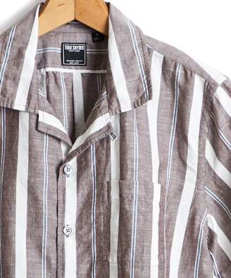Todd Snyder Short Sleeve Linen Awning Stripe Camp Collar Shirt