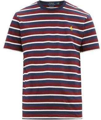 306e4a0ddcb4 Polo Ralph Lauren Logo Embroidered Striped Cotton Jersey T Shirt - Mens -  Burgundy