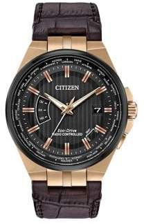 Citizen World Perpetual A-T Stainless Steel and Leather Strap Watch