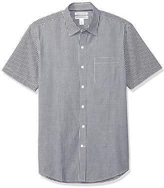Amazon Essentials Men's Slim-Fit Short-Sleeve Gingham Casual Poplin Shirt