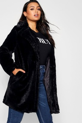 boohoo Plus Collared Faux Fur Coat
