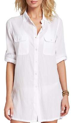 Ralph Lauren Crushed Cotton Camp Shirt Swim Cover-Up
