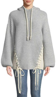 Tabula Rasa Dante Merino Knit Hoodie Sweater W/ Lace-Up Ties