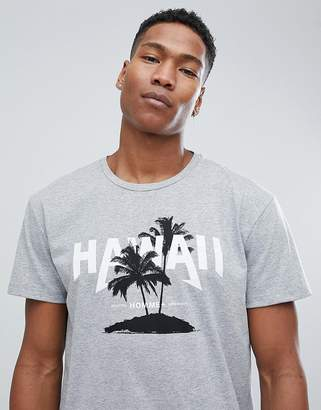 Selected Homme+ T-Shirt With Hawaii Graphic