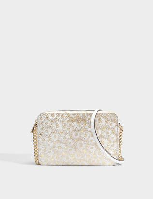 MICHAEL Michael Kors Large East-West Crossbody Bag in Optic Gold Metallic Flower Embossed Leather