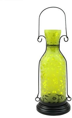 """Northlight 12"""" Transparent Yellow Decorative Glass Bottle Tea Light Candle Lantern with Flower Etching"""