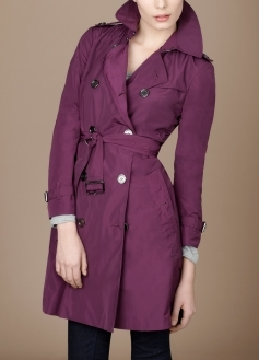 Short Double Breasted Packaway Trench Coat
