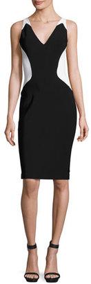 Thierry Mugler Colorblock Sleeveless V-Neck Dress, Black/White $2,000 thestylecure.com