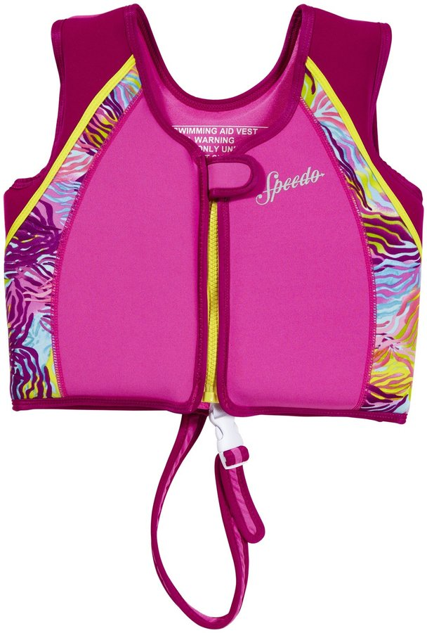 Speedo Youth UV Printed Neoprene Swim Vest, Pink - M