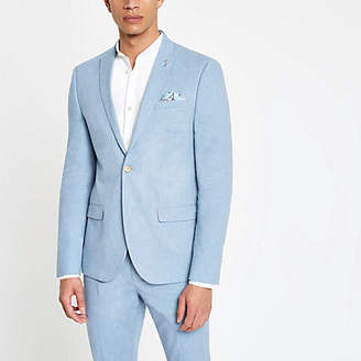River Island Light blue skinny fit suit jacket with linen