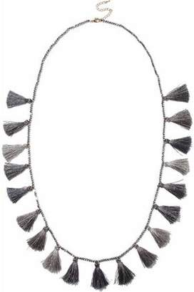 Kenneth Jay Lane Kenneth Jay Lane Woman Gunmetal-tone Beaded Tasseled Necklace Gray Size vO81lhjJ2D