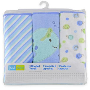 Triboro Just Born Knit Terry Hooded Towel (Set of 3)