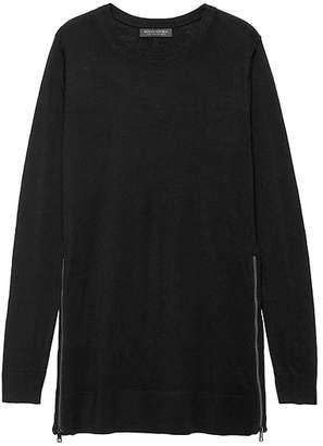 Banana Republic Machine-Washable Merino Wool Sweater Tunic with Zipper Accent
