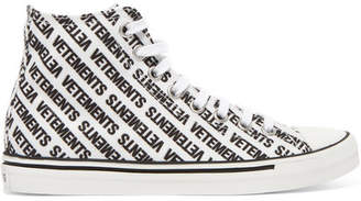 3222010c3e2 Vetements Logo-print Canvas High-top Sneakers - White
