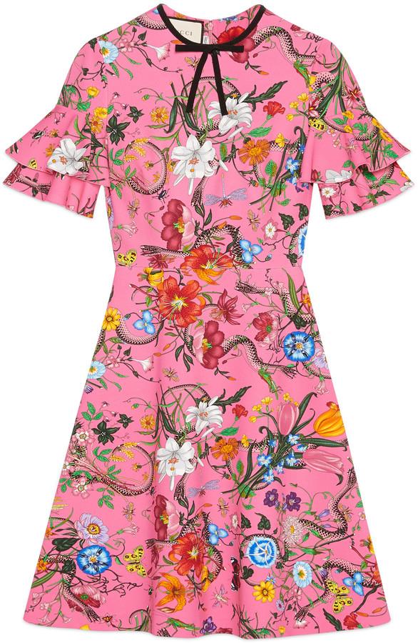 GucciFlora snake print jersey dress