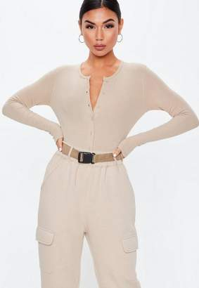 Missguided Tall Sand Ribbed Button Front Bodysuit