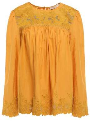 Vanessa Bruno Jemima Mesh-trimmed Cotton Broderie Anglaise Blouse