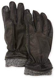 Men's Leather Tech Gloves w/Wool Cuff