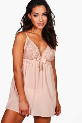boohoo Lace & Bow Detail Babydoll