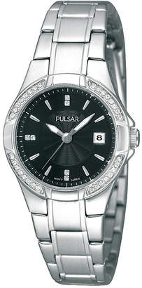 Pulsar Womens Crystal-Accent Stainless Steel Bracelet Watch PH7293