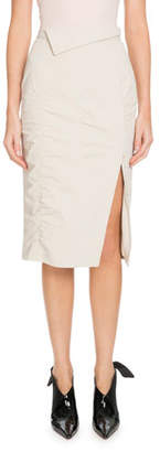 Altuzarra Porto Side-Slit Ruched Knee-Length Skirt