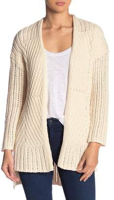 Andrea Jovine Mixed Knit Open Front Cardigan