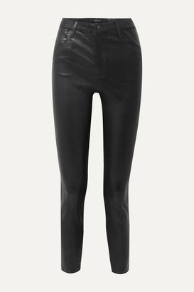 J Brand Alana Cropped Leather Skinny Pants - Black