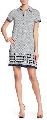 Max Studio Patterned Short Sleeve Shirt Dress