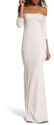 Women's Katie May Three-Quarter Sleeve Off The Shoulder Gown $315 thestylecure.com
