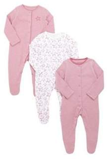 F&F 3 Pack Of Sketchy Safar Sleepsuits 0-1 months