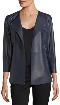 Lafayette 148 New York Dayle Open-Front Leather Jacket $699 thestylecure.com