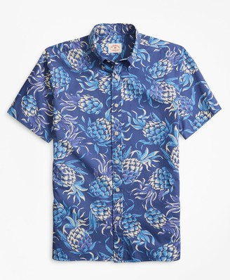 Brooks Brothers Pineapple-Print Short-Sleeve Sport Shirt