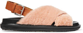 Marni Shearling And Leather Slingback Sandals - Pink