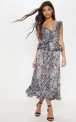 PrettyLittleThing Grey Snake Print Frill Detail Floaty Midaxi Dress