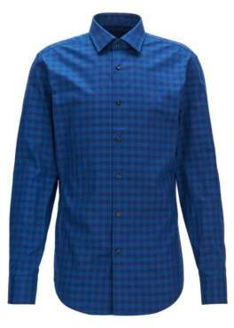 BOSS Hugo Gingham Cotton Dress Shirt, Slim Fit Jenno 15.5 Blue